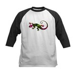Green Purple Gecko Kids Baseball Jersey