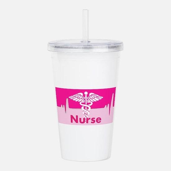 Nurse Pink Heartbeat Acrylic Double-wall Tumbler