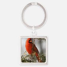 Winter Cardinal Square Keychain