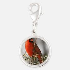 Winter Cardinal Silver Round Charm