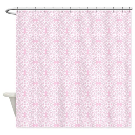 Carnation & White Lace 2 Shower Curtain by DPeaGreenDesigns