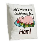 Christmas Ham Burlap Throw Pillow