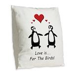 Love For Birds Penguins Burlap Throw Pillow