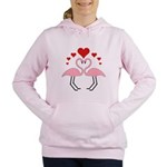 Flamingo Hearts Women's Hooded Sweatshirt