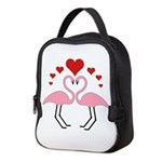Flamingo Hearts Neoprene Lunch Bag