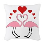 Flamingo Hearts Woven Throw Pillow