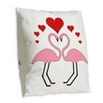 Flamingo Hearts Burlap Throw Pillow
