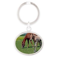 Dam and Foal Oval Keychain