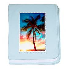 Palm Tree Sunset Stamp baby blanket