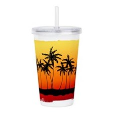 Palm Shadows at Sunset Acrylic Double-wall Tumbler
