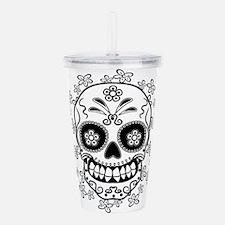 Sugar Skull.B W.png Acrylic Double-wall Tumbler