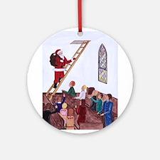 Santa Comes Ornament (Round)