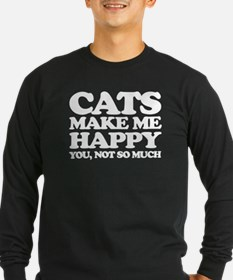 Cats Make Me Happy Long Sleeve T-Shirt