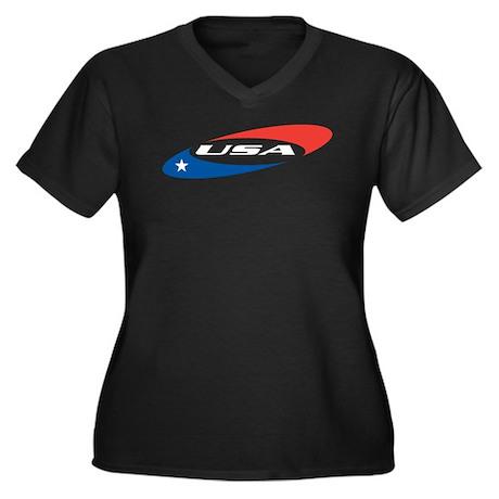 Cool America Women's Plus Size V-Neck Dark T-Shirt