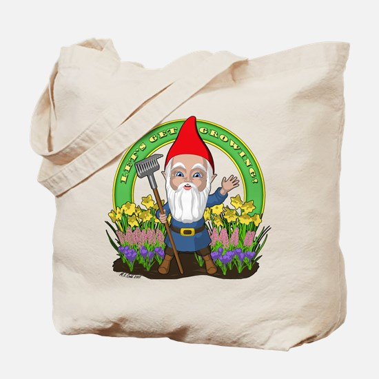 Let's Get Growing Gnome Tote Bag
