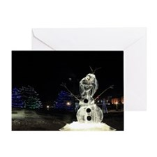 Snowman Ice Sculpture Greeting Cards