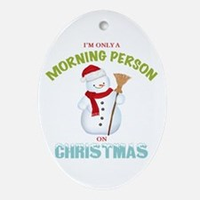 Christmas Morning Person Snowman Ornament (Oval)