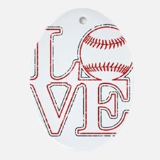 Love Baseball Classic Ornament (Oval)