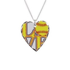 LOVE SOFTBALL STITCH Print Necklace Heart Charm