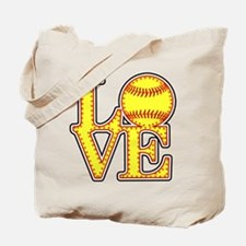 LOVE SOFTBALL STITCH Print Tote Bag