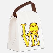 LOVE SOFTBALL STITCH Print Canvas Lunch Bag
