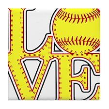 LOVE SOFTBALL STITCH Print Tile Coaster
