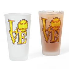 LOVE SOFTBALL STITCH Print Drinking Glass