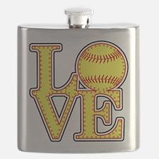 LOVE SOFTBALL STITCH Print Flask
