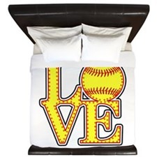 LOVE SOFTBALL STITCH Print King Duvet