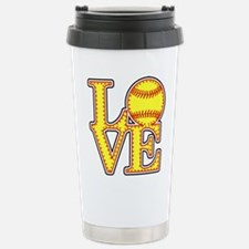 LOVE SOFTBALL STITCH Pr Stainless Steel Travel Mug