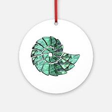 Green Stone Nautilus Shell Ornament (Round)