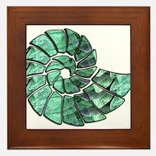 Green Stone Nautilus Shell Framed Tile