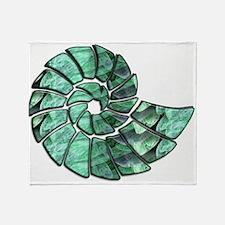 Green Stone Nautilus Shell Throw Blanket