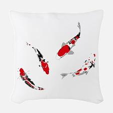 Varicolored carps Woven Throw Pillow
