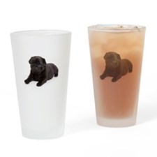 Black Pug Drinking Glass