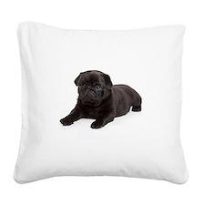 Black Pug Square Canvas Pillow