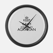 Keep calm and kiss an Agrarian Large Wall Clock