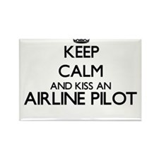 Keep calm and kiss an Airline Pilot Magnets