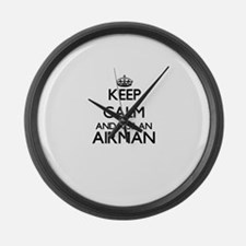 Keep calm and kiss an Airman Large Wall Clock