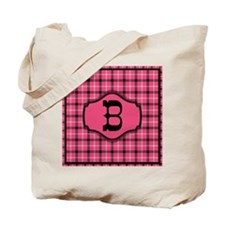 Letter B Cowgirl Pink And Black Monogram Tote Bag