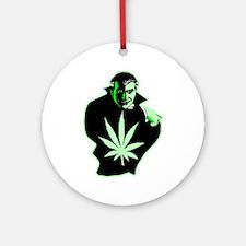 Halloween Weed Leaf Dracula Ornament (Round)