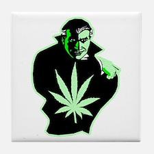 Halloween Weed Leaf Dracula Tile Coaster