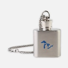 Great Lakes Only Blue3.png Flask Necklace