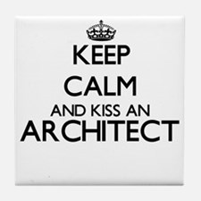 Keep calm and kiss an Architect Tile Coaster