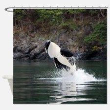 I love orcas Shower Curtain