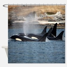 Cool I love orcas Shower Curtain