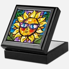 Bright Colorful Tropical Sun with Pa Keepsake Box