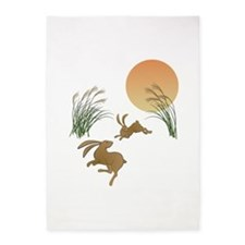 Moon, japanese pampas grass and rab 5'x7'Area Rug
