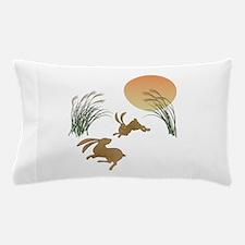 Moon, japanese pampas grass and rabbit Pillow Case