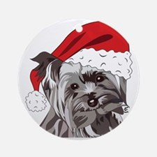 Cute Yorkie Christmas Puppy Ornament (round)